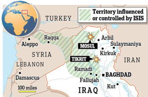 Nella mappa, le città irachene e siriane che sono passate sotto il controllo dello Stato islamico dell'Iraq e del Levante (Isis o Isil).