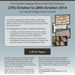 Prima conferenza sulla lingua della Cornovaglia il 27 e 28 ottobre 2014