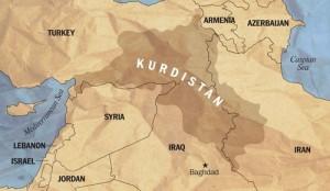 Ogni carta geografica riguardante le popolazioni curde è diversa. Questa mostra una stima della loro estensione geografica, compreso un corridoio verso il Mediterraneo.