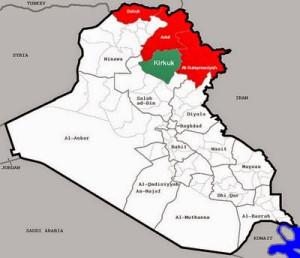 Carta geografica che mostra il Governo Regionale del Kurdistan con – in verde – la provincia di Kirkuk appena conquistata.