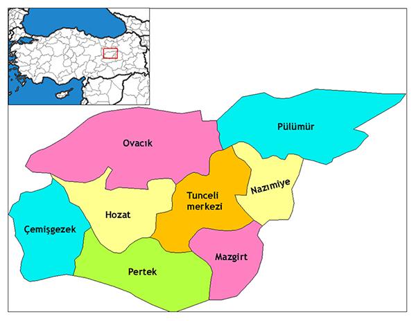 Dersim - districts