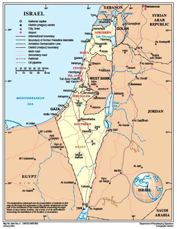 onu ignora capitale israele - 2004-01-map-of-israel